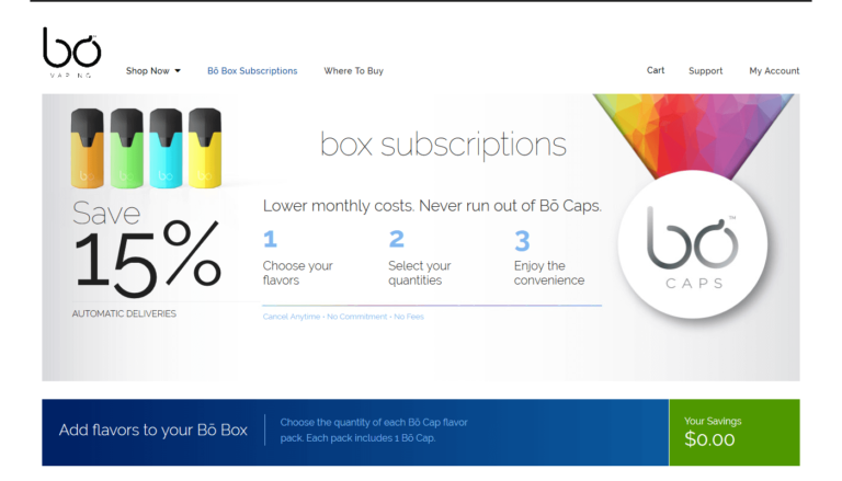 Bo Vaping Subscriptions Screenshot