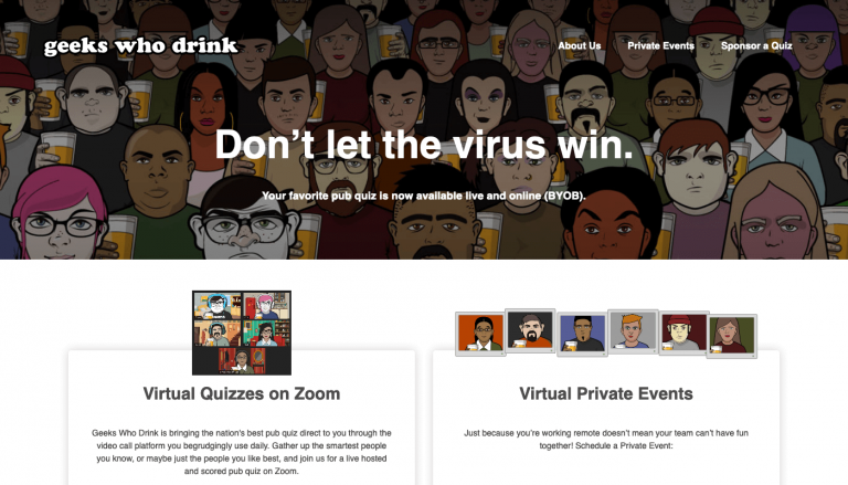 Geeks Who Drink Home Page Screenshot